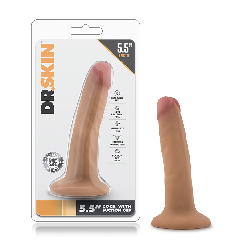 Dr. Skin - 5.5in Cock w/Suc Cup Mocha