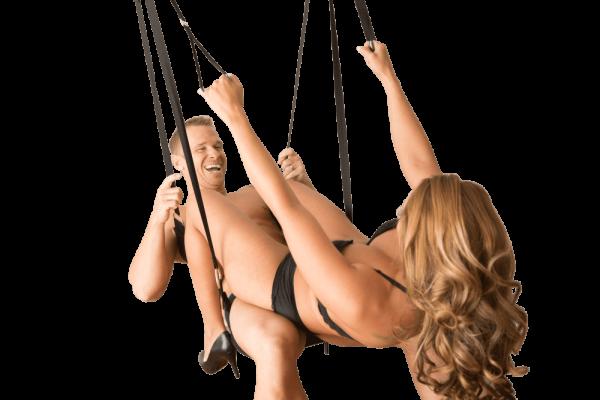 2 people on a sex swing